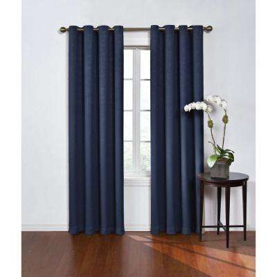 Inspiration about Round And Round Blackout Window Curtain Panel In Navy – 52 In. W X 84 In. L Inside Eclipse Trevi Blackout Grommet Window Curtain Panels (#24 of 26)