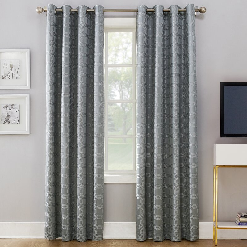 Inspiration about Rowes Woven Geometric Thermal Blackout Grommet Single Curtain Panel In Thermal Woven Blackout Grommet Top Curtain Panel Pairs (#27 of 43)