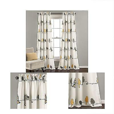 Rowley Birds Room Darkening Window Curtain Yellow/gray Set 52X84 For Sale Online | Ebay Within Rowley Birds Room Darkening Curtain Panel Pairs (View 5 of 49)
