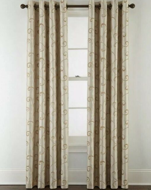 """Inspiration about Royal Velvet Blackout Plaza Embroidery Grommet Top Panel Curtains 50""""x95""""  Ivory With Signature Blackout Velvet Curtains (#1 of 50)"""
