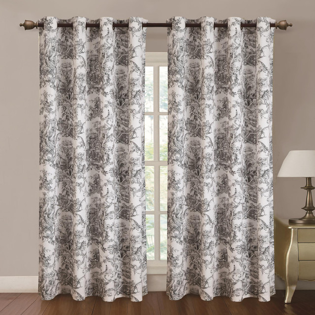 """Inspiration about Rt Designers Toile Printed Grommet Top Panel, 54""""""""x84"""""""" Black For Caldwell Curtain Panel Pairs (#8 of 27)"""