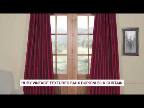 Ruby Vintage Textured Faux Dupioni Silk Curtain With Vintage Textured Faux Dupioni Silk Curtain Panels (#47 of 50)