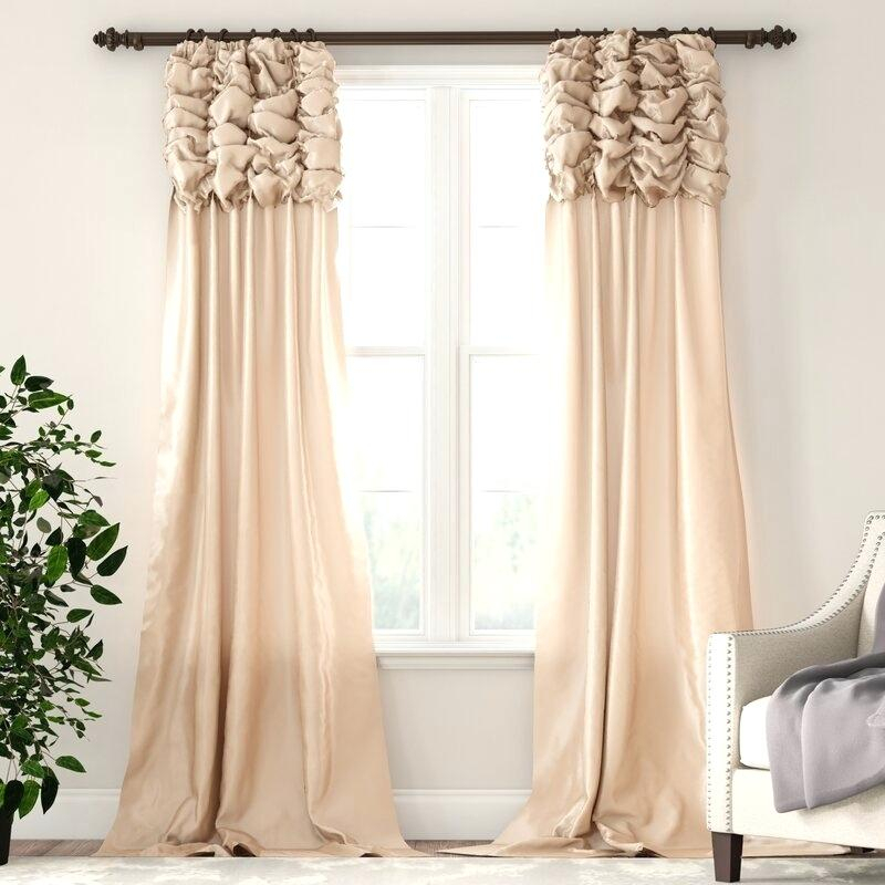 Inspiration about Ruched Faux Silk Taffeta Thermal Rod Pocket Single Curtain With Solid Faux Silk Taffeta Graphite Single Curtain Panels (#27 of 50)
