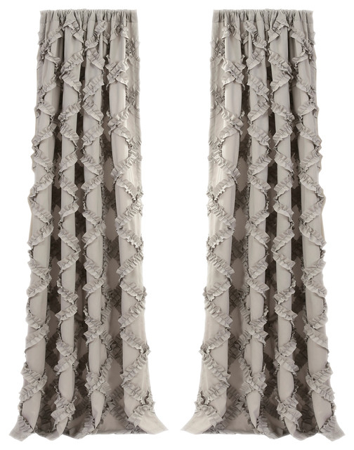 Inspiration about Ruffle Diamond Window Curtain Gray Set 54X84 Pertaining To Ruffle Diamond Curtain Panel Pairs (#21 of 50)