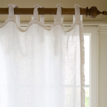 Ruffle White Linen Curtain Panel Inside Linen Button Window Curtains Single Panel (#31 of 40)