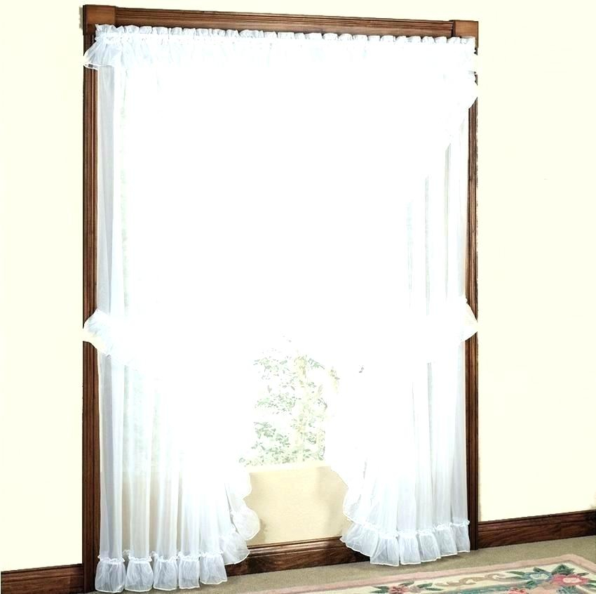 Ruffled Curtain Panels White Curtains Shabby Chic Tiered Regarding Sheer Voile Waterfall Ruffled Tier Single Curtain Panels (#31 of 50)