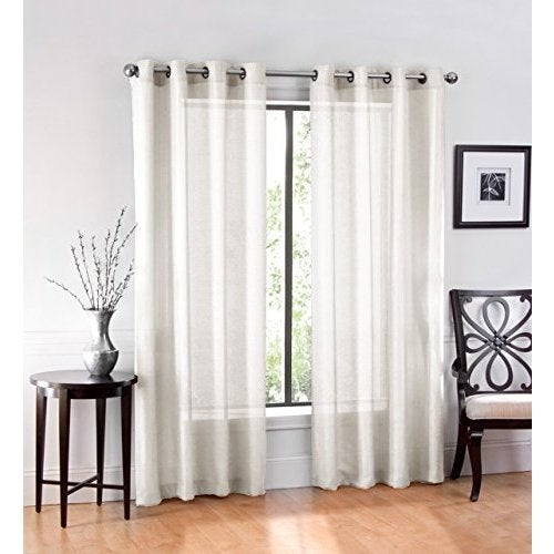 Ruthy's Textile Sheer Grommet Curtain Panel Pair Inside Luxury Collection Cranston Sheer Curtain Panel Pairs (View 29 of 42)