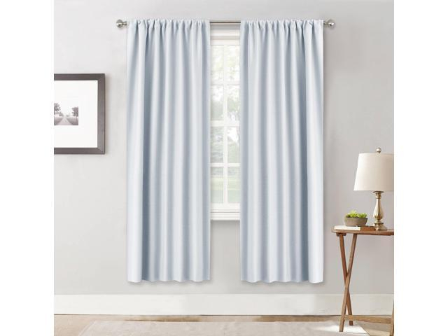 """Ryb Home Room Darkening Thermal Blackout Curtains Decoration (Wide 42"""" Long 72"""", Greyish White, One Pair) Window Draperies Sunlight Shades Panels In Thermal Rod Pocket Blackout Curtain Panel Pairs (#42 of 50)"""