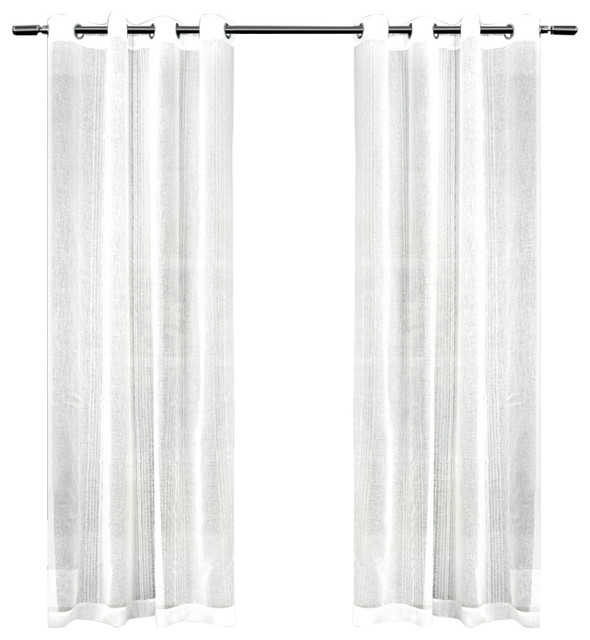 Sabrina Sheer Striped Grommet Top Window Curtain Panel Pair, 50X108, White With Regard To Penny Sheer Grommet Top Curtain Panel Pairs (#43 of 49)