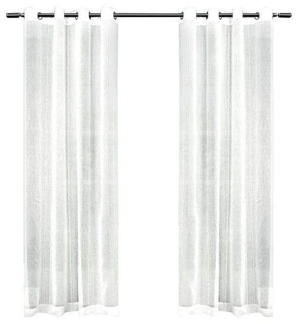 Sabrina Sheer Striped Grommet Top Window Curtain Panel Pair, 50X84, White With Regard To Kochi Linen Blend Window Grommet Top Curtain Panel Pairs (#35 of 36)