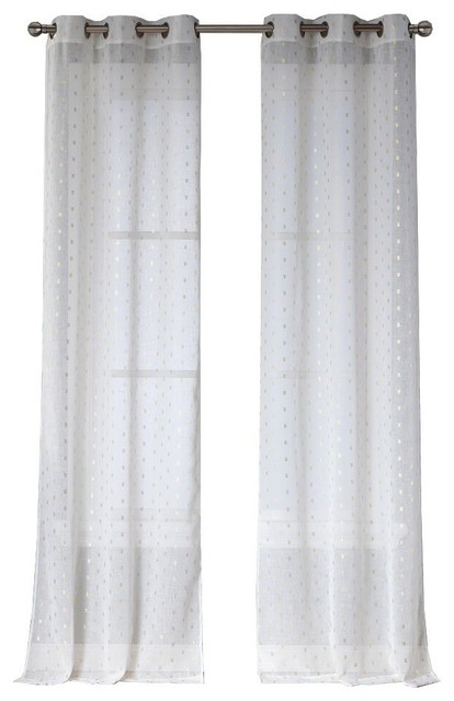 Sadie Sheer Grommet Pair, Set Of 2, White Gold With Penny Sheer Grommet Top Curtain Panel Pairs (View 44 of 49)