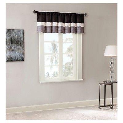 "Salem Polyoni Pintuck Window Valance Black (50""x18 Pertaining To Chester Polyoni Pintuck Curtain Panels (#22 of 26)"