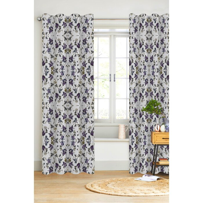 San Marcos Organic Cotton Drapery Floral/flower Semi Sheer Rod Pocket  Single Curtain Panel Throughout Grey Printed Curtain Panels (View 42 of 48)