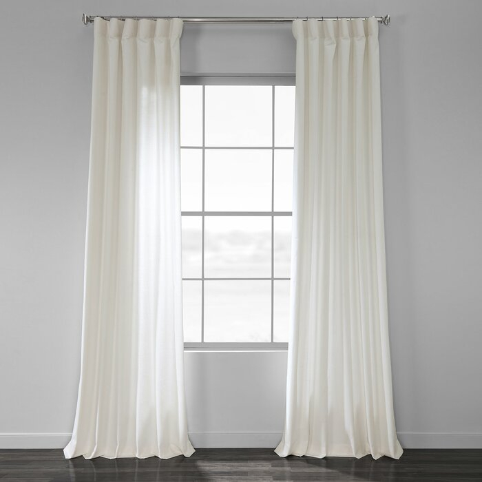 Sanger Solid Country Cotton Linen Weave Rod Pocket Single Curtain Panel In Solid Cotton Curtain Panels (View 18 of 47)