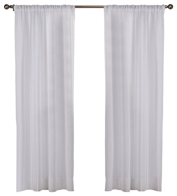 """Santos Stripe Sheer Rod Pocket Curtains, 54""""x84"""", White, Set Of 2 For Belgian Sheer Window Curtain Panel Pairs With Rod Pocket (View 44 of 46)"""