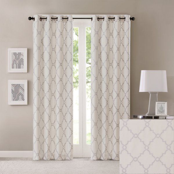 Saratoga Eyelet Room Darkening Curtains | Lounge | Curtains Intended For Essentials Almaden Fretwork Printed Grommet Top Curtain Panel Pairs (#32 of 38)