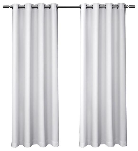 "Sateen Blackout Kids Grommet Top Window Curtain Panel Pair, White, 52"" X63"" Regarding Insulated Grommet Blackout Curtain Panel Pairs (View 40 of 50)"