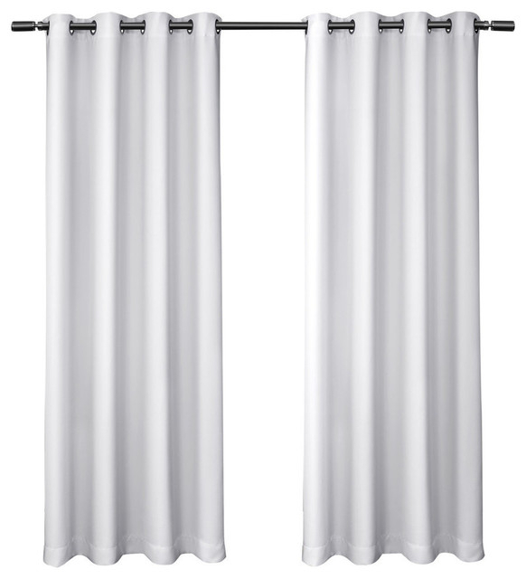 "Sateen Blackout Kids Grommet Top Window Curtain Panel Pair, White, 52"" X63"" Throughout Antique Silver Grommet Top Thermal Insulated Blackout Curtain Panel Pairs (View 34 of 40)"
