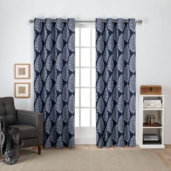 Sateen Curtains Exclusive Home Silver Woven Blackout Hidden Intended For Oxford Sateen Woven Blackout Grommet Top Curtain Panel Pairs (View 34 of 44)