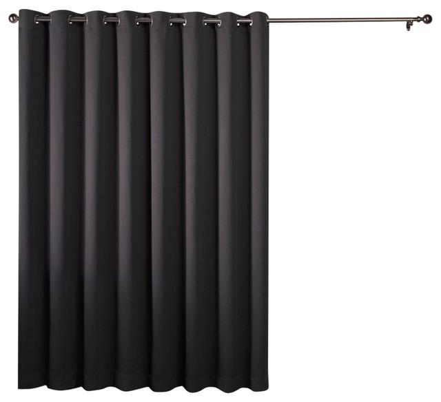 Sateen Patio Grommet Top Curtain, Single Panel, Charcoal Within Patio Grommet Top Single Curtain Panels (#33 of 38)