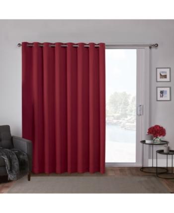 Sateen Patio Woven Blackout Grommet Top Single Curtain Panel Inside Patio Grommet Top Single Curtain Panels (#34 of 38)