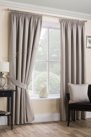 Sateen Woven Blackout Natural Pencil Pleat Tape Top Unlined Regarding Sateen Woven Blackout Curtain Panel Pairs With Pinch Pleat Top (#35 of 40)