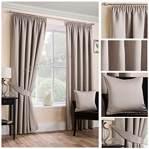 Sateen Woven Blackout Natural Pencil Pleat Tape Top Unlined Within Sateen Woven Blackout Curtain Panel Pairs With Pinch Pleat Top (#36 of 40)