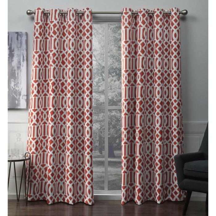 Scrollwork Geometric Blackout Thermal Grommet Curtain Panels With Regard To Geometric Print Textured Thermal Insulated Grommet Curtain Panels (View 35 of 45)