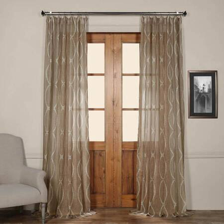 Seaglass Blue Printed Sheer Curtain – Tabriz Faux Silk Curtain In Montpellier Striped Linen Sheer Curtains (#40 of 50)