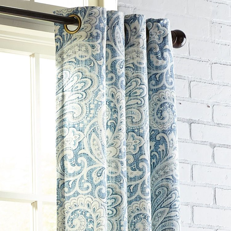 "Seasons Paisley Indigo 96"" Grommet Curtain In Sunsmart Dahlia Paisley Printed Total Blackout Single Window Curtain Panels (#23 of 45)"