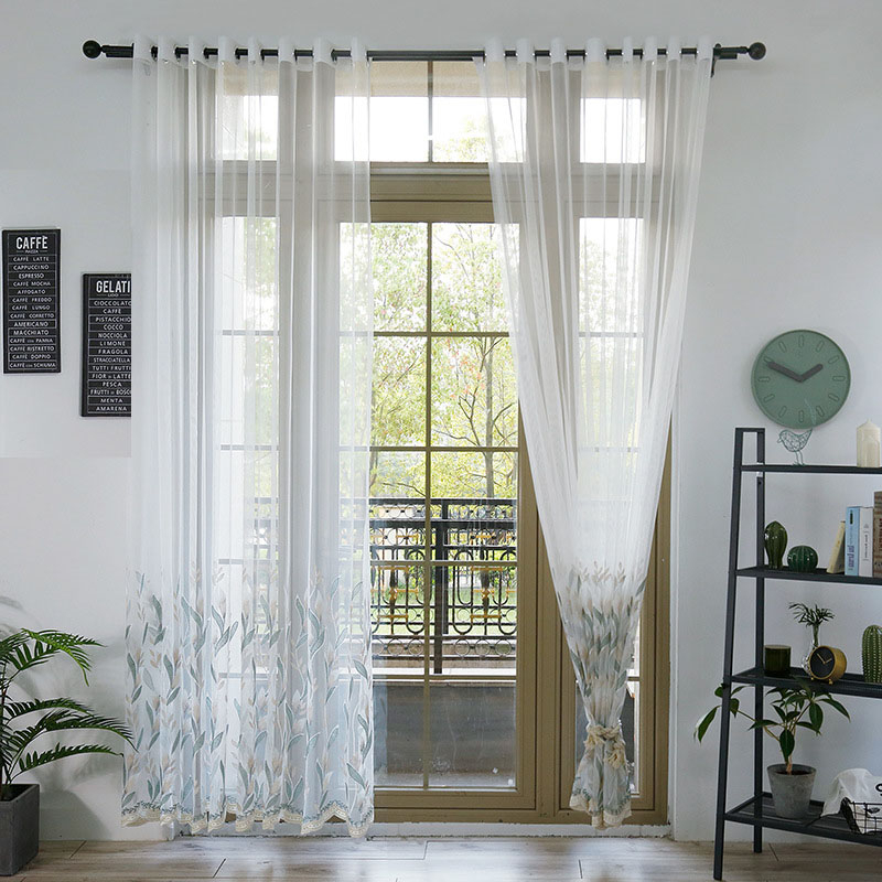 Semi White Tree Branch Embroidered Leaf Sheer Curtains Room Divider With Regard To Kida Embroidered Sheer Curtain Panels (View 37 of 50)