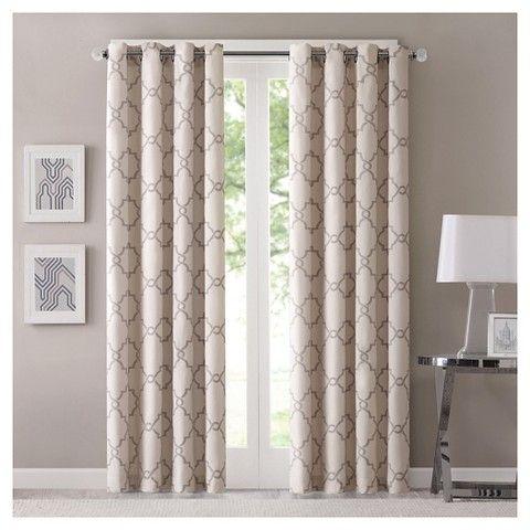 "Sereno Fretwork Print Curtain Panel Beige (50""x63"") | Dream Regarding Fretwork Print Pattern Single Curtain Panels (View 8 of 46)"