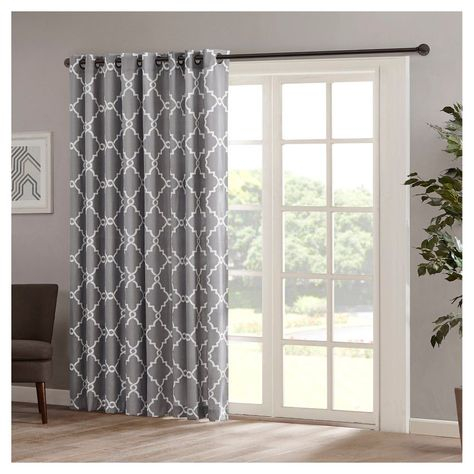 Sereno Fretwork Print Patio Curtain Panel Grey (100x84 For Fretwork Print Pattern Single Curtain Panels (View 4 of 46)