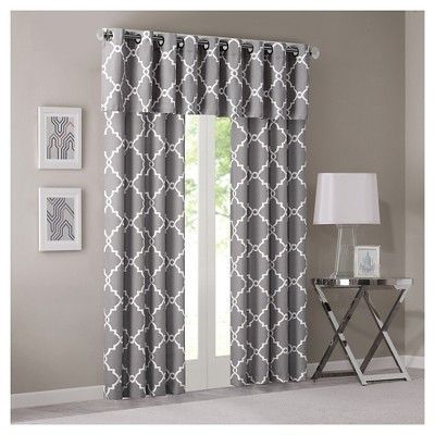 "Sereno Fretwork Print Valance Gray (50""x18"") 