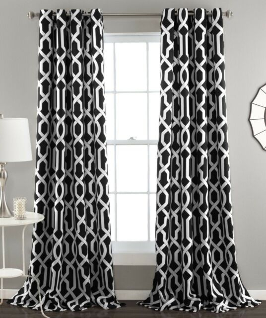 Set 2 Black White Geometric Window Curtains Panels Drapes 84 Inch Room  Darkening With Meridian Blackout Window Curtain Panels (#44 of 50)