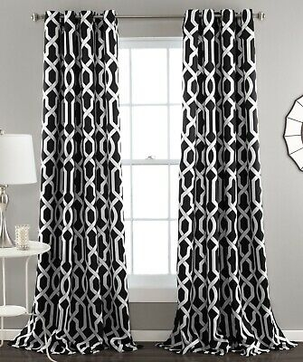 Set 2 Black White Geometric Window Curtains Panels Drapes 84 Intended For Kaiden Geometric Room Darkening Window Curtains (View 34 of 39)