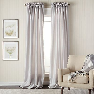 Set 2 Faux Silk Silver Gray Window Curtains Panels Drapes Regarding Overseas Faux Silk Blackout Curtain Panel Pairs (#35 of 41)