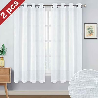 """Set Of 2 Faux Linen Sheer Curtains For Living Room Voile Grommet Top 52"""" X  63"""" 