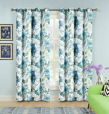 Set Of 2 Panels Floral Paisley Room Darkening Grommet Top Within Floral Pattern Room Darkening Window Curtain Panel Pairs (View 35 of 44)
