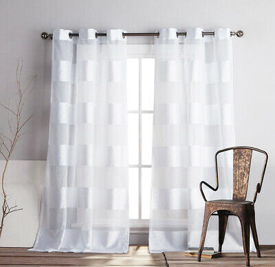 Set Of 2 Panels: White Pole Top Striped Linen Textured With Oakdale Textured Linen Sheer Grommet Top Curtain Panel Pairs (#34 of 41)