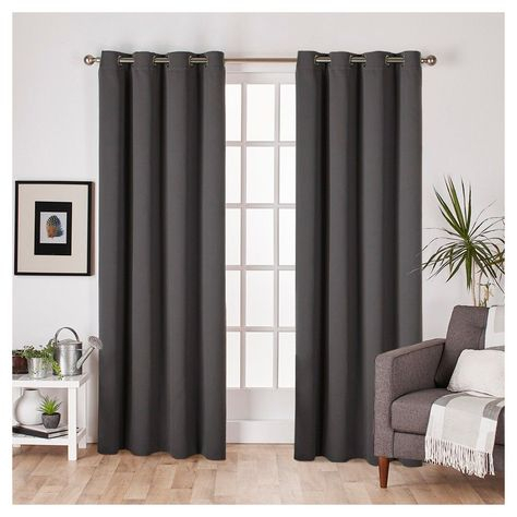 Set Of 2 Sateen Twill Weave Insulated Blackout Grommet Top With Regard To Silvertone Grommet Thermal Insulated Blackout Curtain Panel Pairs (#33 of 35)