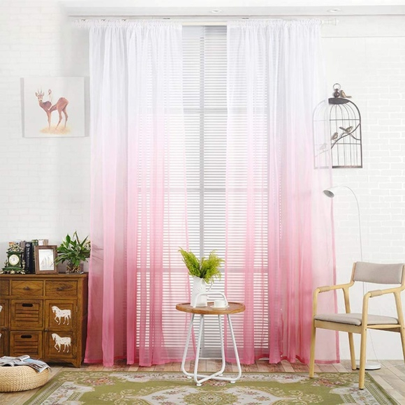 Set Of 2 Wide Pink Sheer Ombre Curtain Panels Throughout Ombre Embroidery Curtain Panels (View 46 of 50)