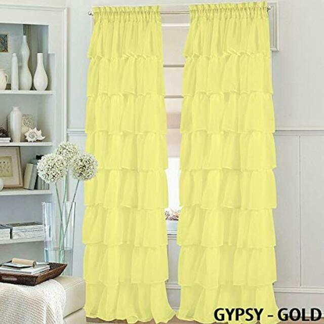 """Set Of Panels 2 Gypsy Ruffle Window Curtain 84"""" Long, Semi Sheer Voile Rod Intended For Sheer Voile Ruffled Tier Window Curtain Panels (View 7 of 50)"""