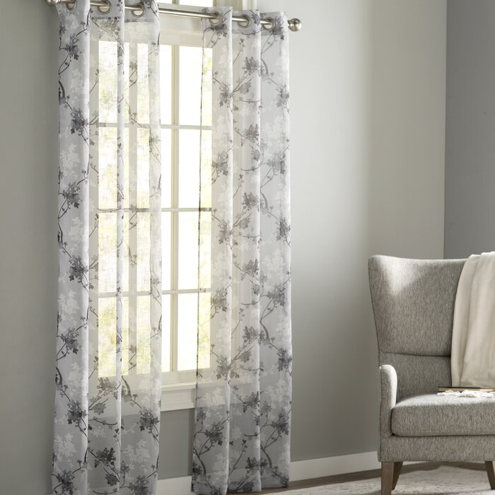 Severus Nature/floral Sheer Grommet Curtain Panels With Andorra Watercolor Floral Textured Sheer Single Curtain Panels (View 36 of 46)