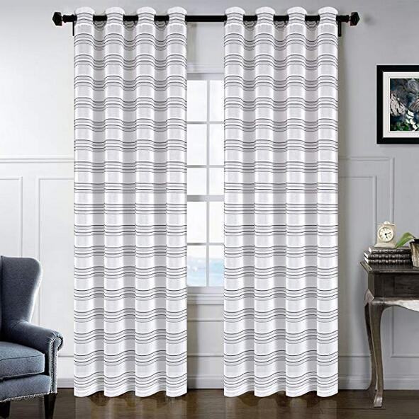 Sgofais Living Room Sheer Curtains – Home Fashion Grommet Top(One Pair, W52  X L84,black White Stripes Design) 1 Piece / Bag Throughout Ocean Striped Window Curtain Panel Pairs With Grommet Top (#28 of 41)