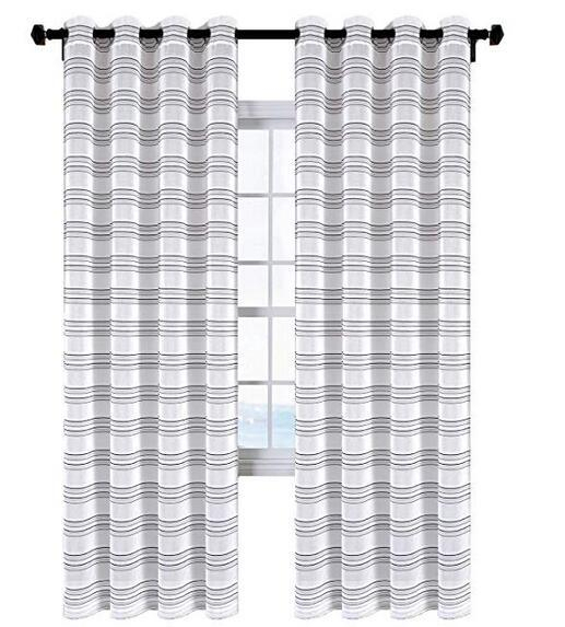 Sgofais Living Room Sheer Curtains – Home Fashion Grommet Top(One Pair, W52  X L84,black White Stripes Design) 1 Piece / Bag Within Ocean Striped Window Curtain Panel Pairs With Grommet Top (#29 of 41)