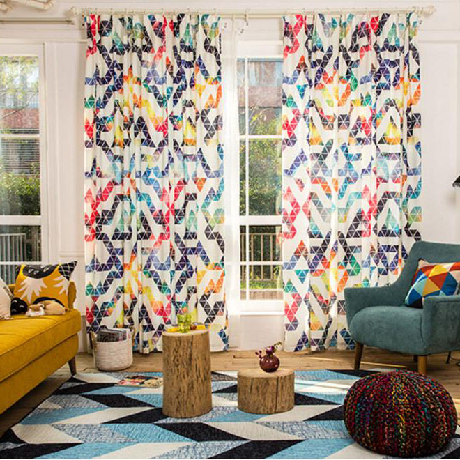 Shabby Chic Colorful Linen Cotton Print Geometric Window Curtains With Regard To Geometric Linen Room Darkening Window Curtains (View 41 of 50)