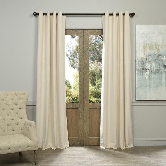 Sharpe Solid Velvet Blackout Grommet Single Curtain Panel Regarding Warm Black Velvet Single Blackout Curtain Panels (#30 of 48)