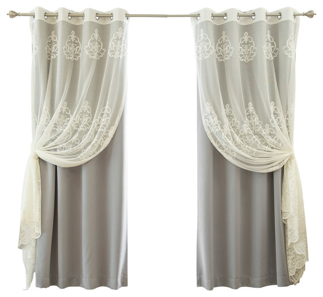 """Sheer Agatha And Blackout Mix And Match Curtains, Gray, 84"""" In Mix And Match Blackout Tulle Lace Sheer Curtain Panel Sets (#45 of 50)"""