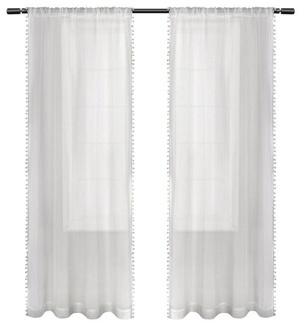 "Sheer Bordered Pom Pom Applique Rod Pocket Curtain Panel Pair, White, 54"" X  84"" Within Belgian Sheer Window Curtain Panel Pairs With Rod Pocket (View 45 of 46)"